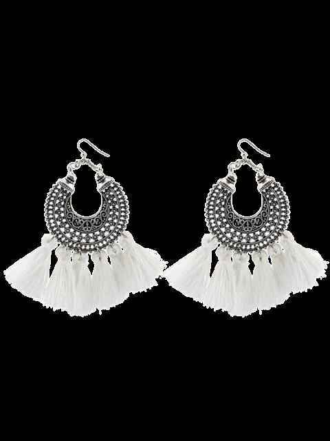 hot Moon Gypsy Tassel Hook Earrings - WHITE  Mobile
