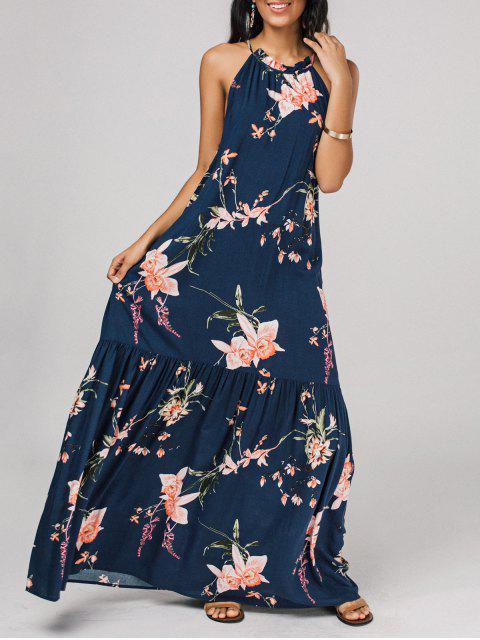 chic Floral Flounces Maxi Dress -   Mobile