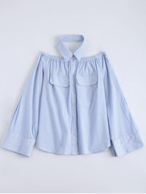 affordable Button Up Striped Pocket Blouse - LIGHT BLUE 2XL Mobile