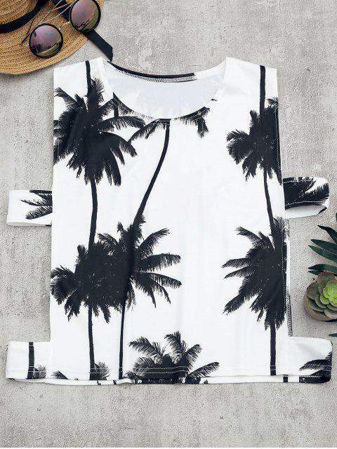ladies Palm Tree Print Cut Out Tank Top - WHITE L Mobile
