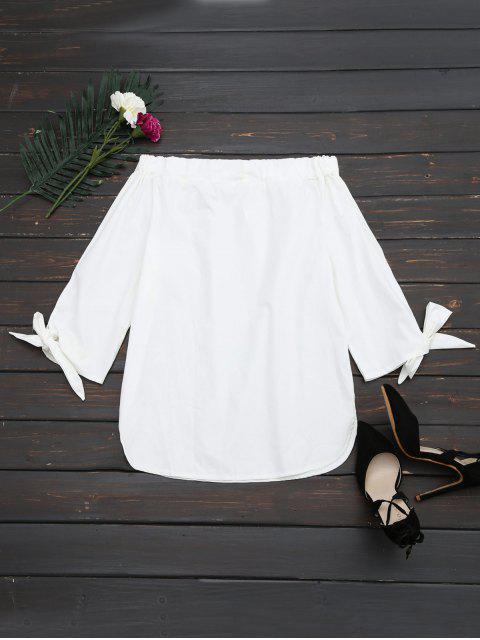 unique Off The Shoulder Longline Blouse - WHITE XL Mobile