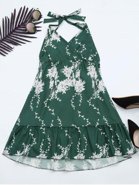 ladies Halter Floral Print Ruffle Hem Dress - GREEN XL Mobile