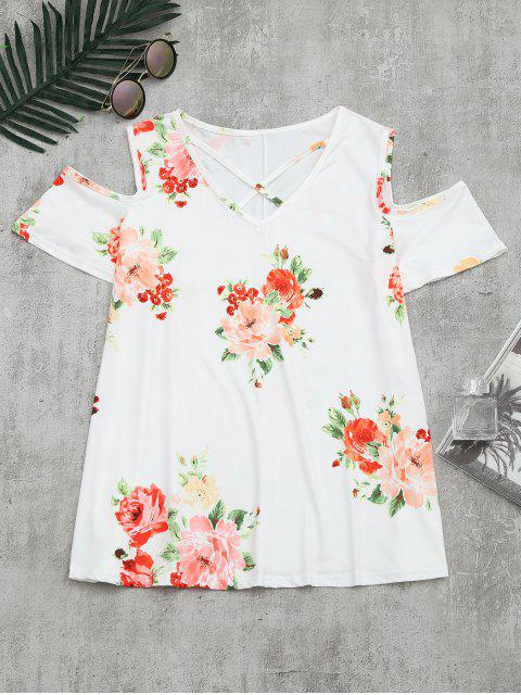 outfits Cold Shoulder Criss Cross Floral Print T-shirt - WHITE M Mobile