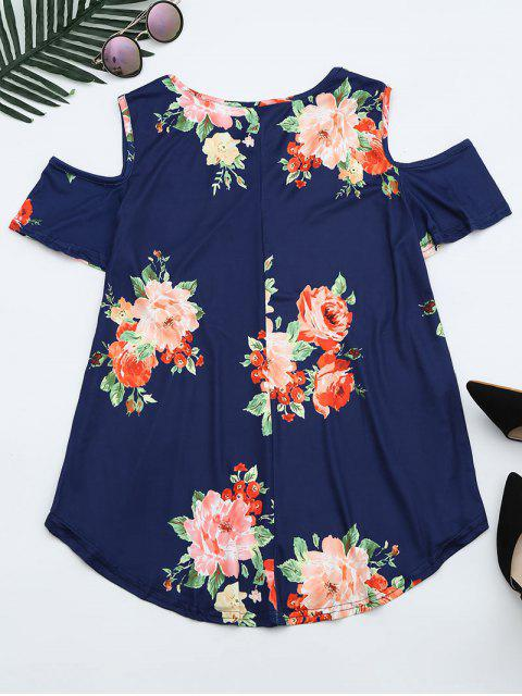 womens Cold Shoulder Criss Cross Floral Print T-shirt - DEEP BLUE S Mobile