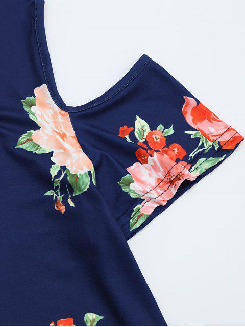 chic Cold Shoulder Criss Cross Floral Print T-shirt - DEEP BLUE XL Mobile