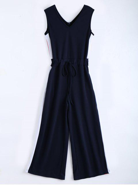 Combinaison sans couture en V à manches longues - Bleu Violet L Mobile