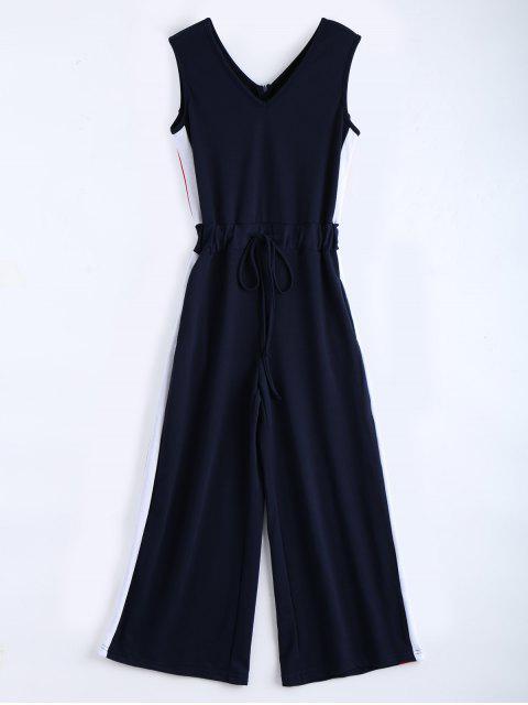 latest V Neck Sleeveless Contrast Jumpsuit - PURPLISH BLUE M Mobile
