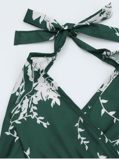 Robe bretelle imprimé floral à volants - Vert XL Mobile