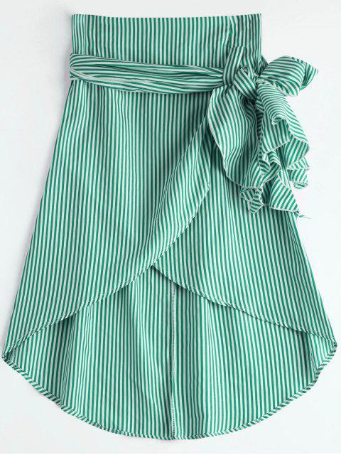 chic High Waist Ruffled Striped Asymmetric Skirt - GREEN XL Mobile