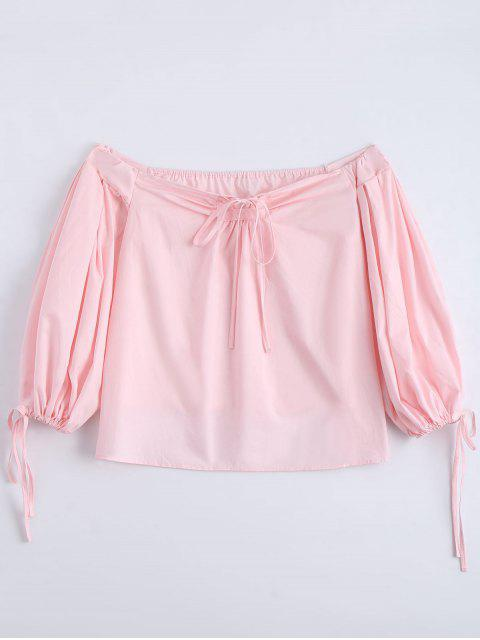 hot Off The Shoulder Self Tie Plain Blouse - PINK S Mobile