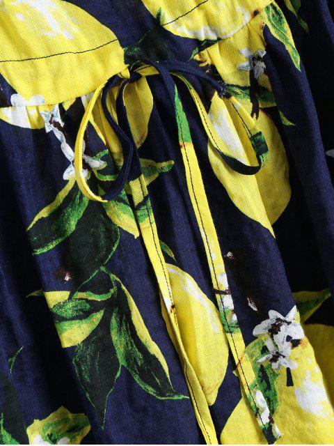 latest Lemon Print Drawstring Sleeveless Dress - DEEP BLUE S Mobile