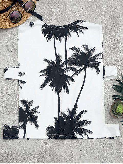 Top tank découpé à imprimé de palmier - Blanc XL Mobile