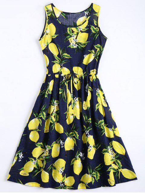 online Lemon Print Drawstring Sleeveless Dress - DEEP BLUE L Mobile
