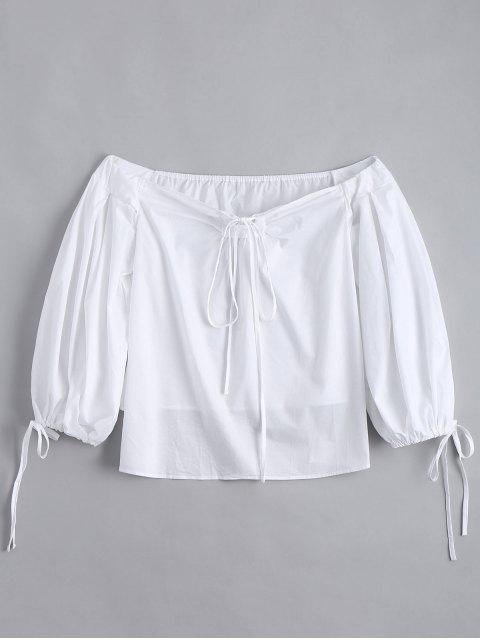 Blouse plaine lacée aux épaules dénudées - Blanc S Mobile