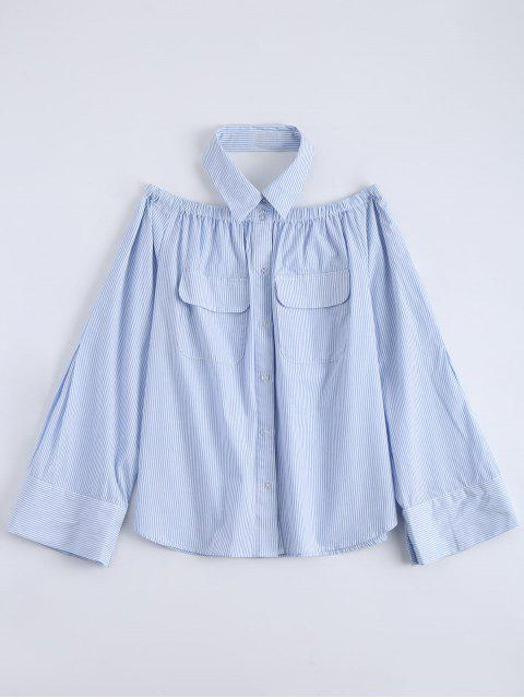 affordable Button Up Striped Pocket Blouse - LIGHT BLUE 2XL Mobile