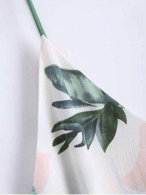 ladies Leaves Print Mini Cami Shift Dress - WHITE L Mobile