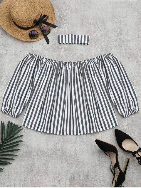 fancy Puff Sleeve Striped Blouse with Chocker - STRIPE S Mobile