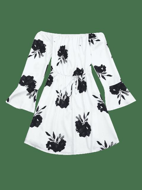 Robe à manches longues imprimée fleur - Noir XL Mobile