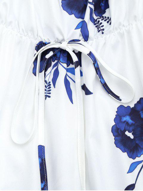 women Floral Print Long Sleeve Dress - BLUE S Mobile
