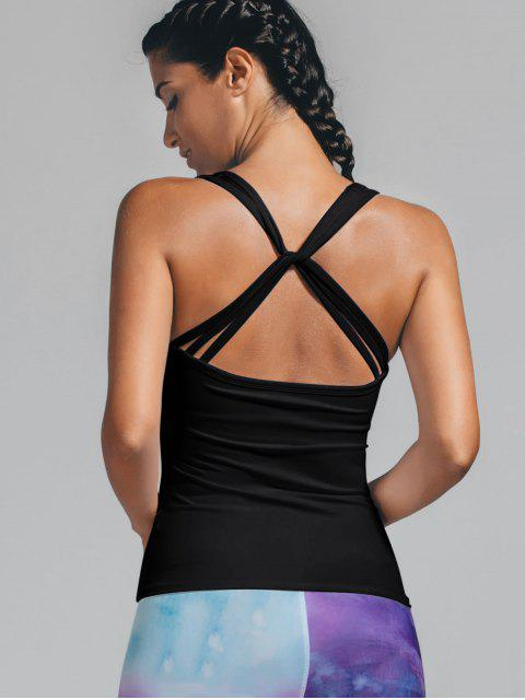 trendy Twist Back Padded Sporty Tank Top - BLACK M Mobile