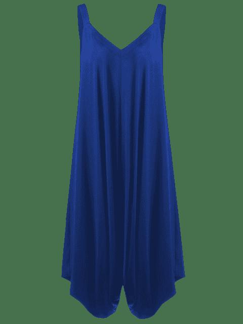 shop Plus Size V Neck Baggy Capri Jumpsuit - BLUE 5XL Mobile