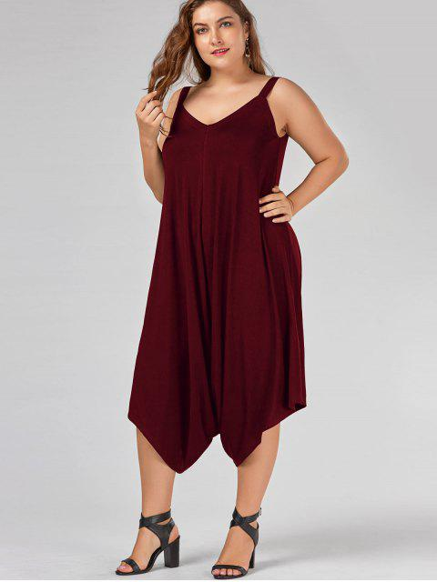 women's Plus Size V Neck Baggy Capri Jumpsuit - WINE RED 4XL Mobile