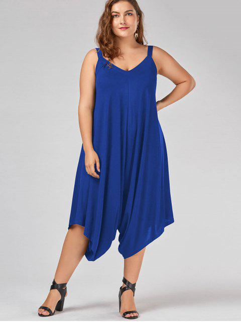 latest Plus Size V Neck Baggy Capri Jumpsuit - BLUE 3XL Mobile