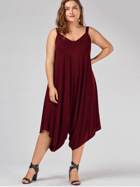 ladies Plus Size V Neck Baggy Capri Jumpsuit - WINE RED 3XL Mobile