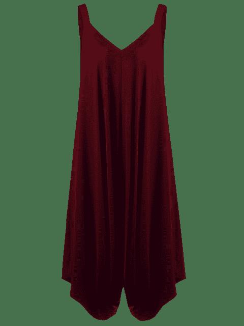 lady Plus Size V Neck Baggy Capri Jumpsuit - WINE RED 2XL Mobile