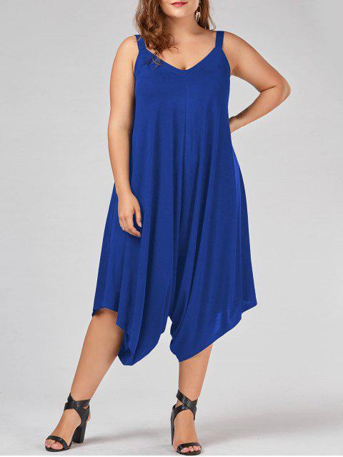 trendy Plus Size V Neck Baggy Capri Jumpsuit - BLUE 2XL Mobile
