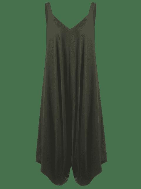 online Plus Size V Neck Baggy Capri Jumpsuit - ARMY GREEN 5XL Mobile