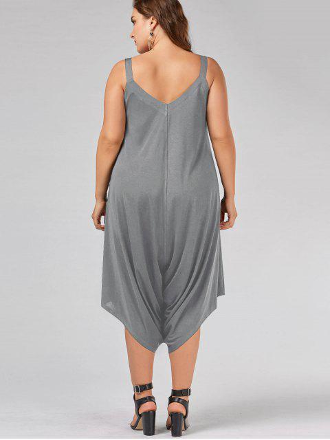 unique Plus Size V Neck Baggy Capri Jumpsuit - GRAY XL Mobile