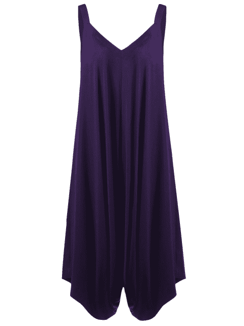 unique Plus Size V Neck Baggy Capri Jumpsuit - PURPLE 3XL Mobile