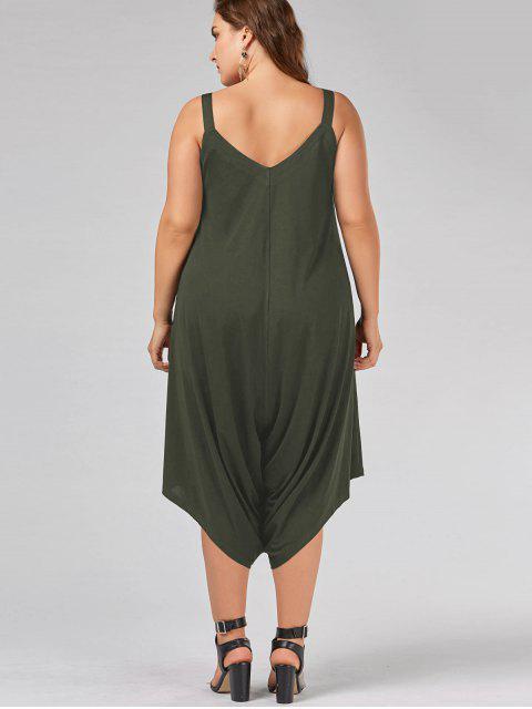 hot Plus Size V Neck Baggy Capri Jumpsuit - ARMY GREEN 3XL Mobile