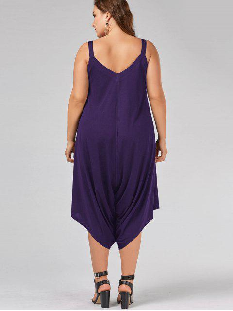 sale Plus Size V Neck Baggy Capri Jumpsuit - PURPLE 2XL Mobile