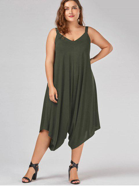 outfit Plus Size V Neck Baggy Capri Jumpsuit - ARMY GREEN 2XL Mobile