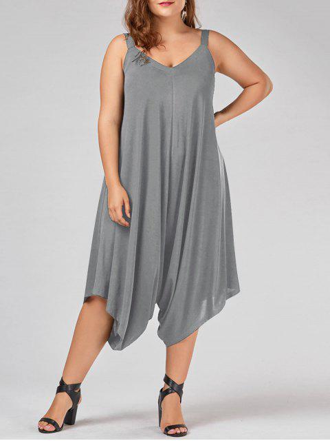 buy Plus Size V Neck Baggy Capri Jumpsuit - GRAY 4XL Mobile