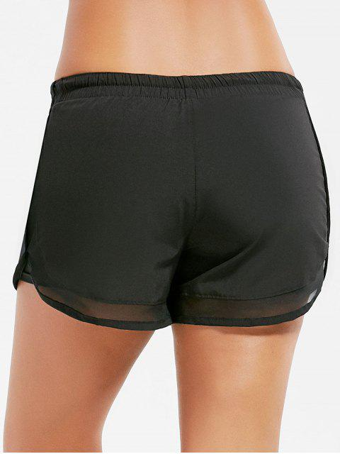 women's Mesh Trim Elastic Waist Running Shorts - BLACK L Mobile