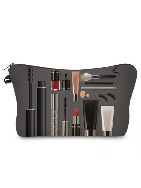 Sacoche de Maquillage à Imprimé Maquillage et Cosmétiques 3D - gris foncé  Mobile