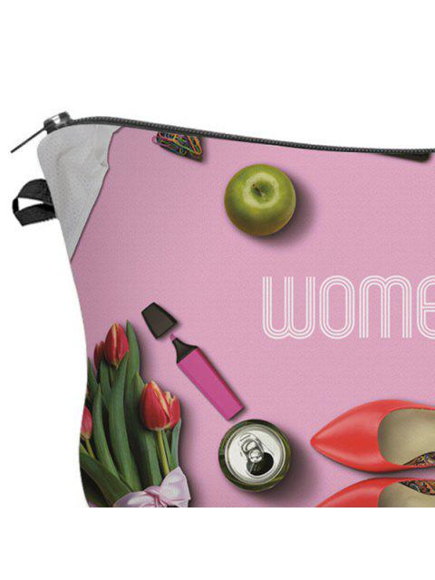 affordable 3D Cosmetics Print Clutch Makeup Bag - ROSE RED  Mobile