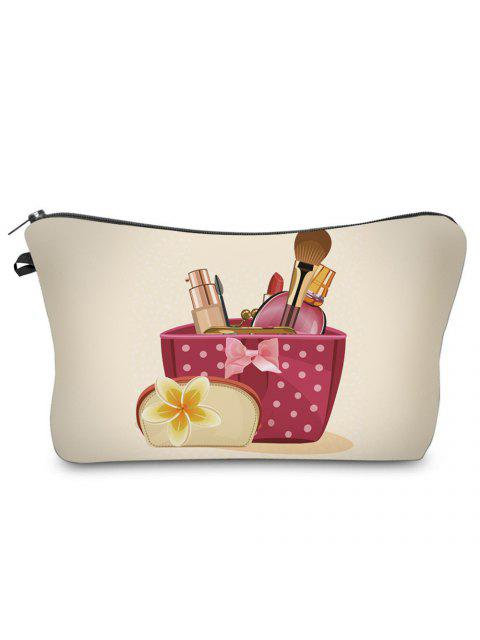 chic 3D Cosmetics Print Clutch Makeup Bag -   Mobile