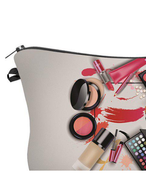 fashion 3D Cosmetics Print Clutch Makeup Bag - GRAY  Mobile