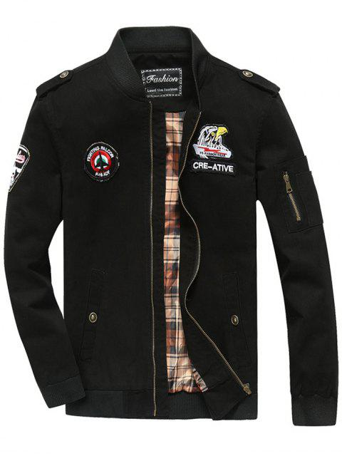 new Patch Design Zip Fly Bomber Jacket - BLACK 3XL Mobile