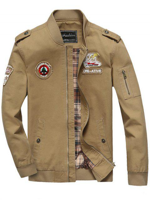shop Patch Design Zip Fly Bomber Jacket - KHAKI 4XL Mobile