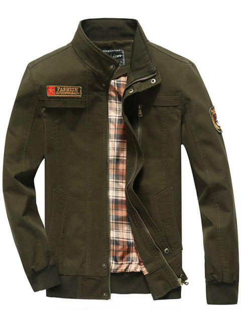 trendy Patch Embellished Snap Button Design Jacket - ARMY GREEN M Mobile