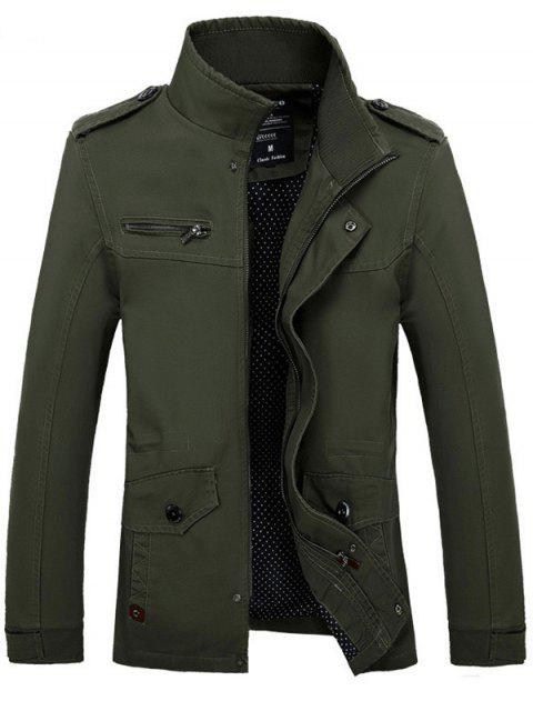 unique Stand Collar Side Pocket Design Graphic Print Jacket - ARMY GREEN 3XL Mobile