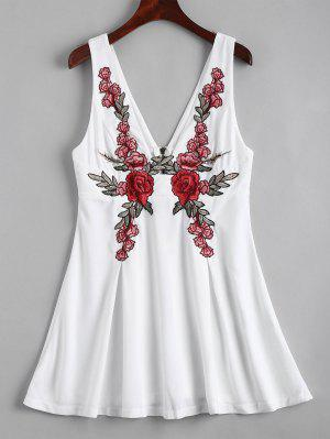 Back Zipper Floral Embroidered Mini Dress - White 2xl