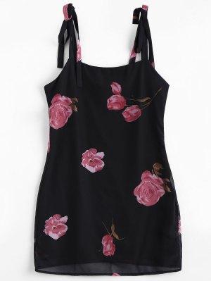Side Zipper Floral Slip Mini Vestido - Floral M
