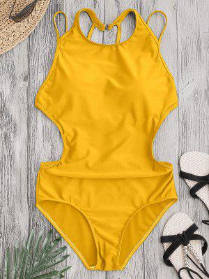 Padded Back Strappy Swimwear - Yellow L