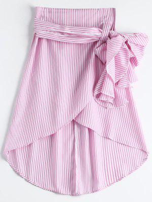 High Waist Ruffled Striped Asymmetric Skirt - Pink M
